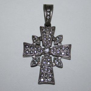 "large silver cross with cz's 2.75"" tall"